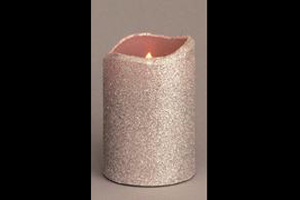 """CANDLE LED FLICKER SILVER GLITTER 6"""""""