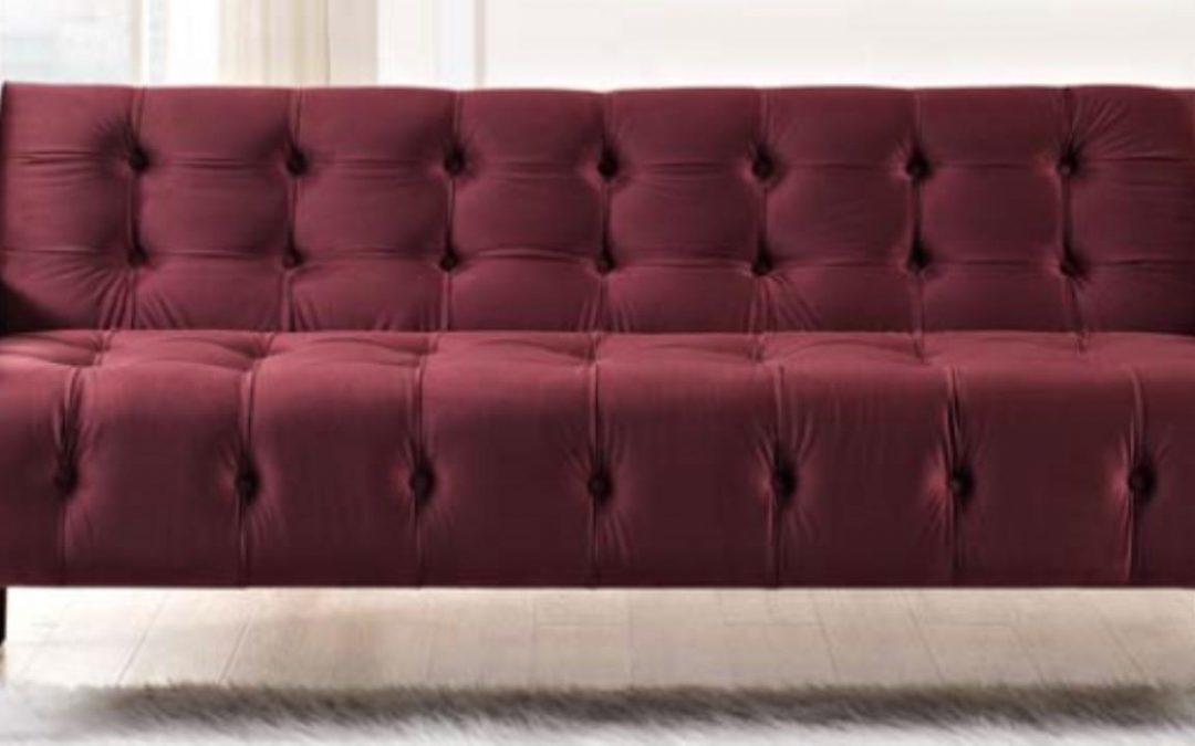Merlot Velvet Tufted Sofa
