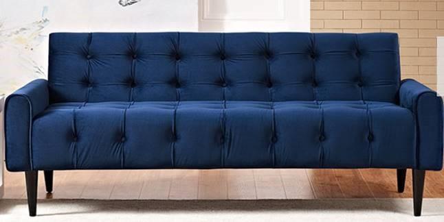 Navy Velvet Tufted Sofa
