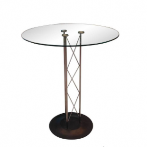 Truss Highboy Cocktail Table with Glass Top