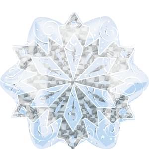 """18"""" White Christmas Snowflake Prismatic"""