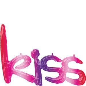 """kiss"" Phrase Script Ombre Mylar Balloon"