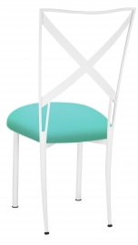 Simply X White with Aqua Stretch Knit Cushion