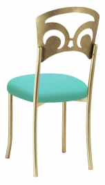 Gold Fleur de Lis with Aqua Stretch Knit Cushion