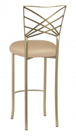 Gold Fanfare Bar Stool with Beige Knit Cushion
