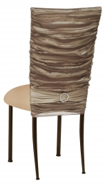 Beige Demure Chair Cover with Beige Stretch Knit Cushion on Brown Legs