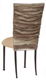 Beige Demure Chair Cover with Jeweled Band and Beige Stretch Knit Cushion on Mahogany Legs