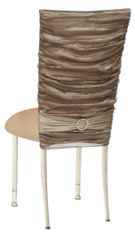 Beige Demure Chair Cover with Jeweled Band and Beige Stretch Knit Cushion on Ivory Legs