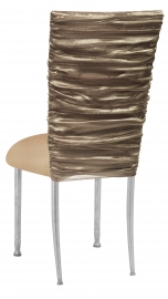 Beige Demure Chair Cover with Beige Stretch Knit Cushion on Silver Legs