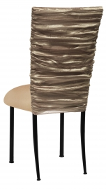 Beige Demure Chair Cover with Beige Stretch Knit Cushion on Black Legs
