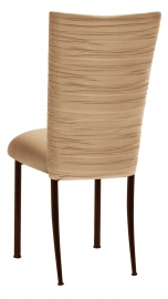 Chloe Beige Stretch Knit Chair Cover and Cushion on Brown Legs