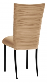 Chloe Beige Stretch Knit Chair Cover and Cushion on Black Legs