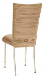 Chloe Beige Stretch Knit Chair Cover with Jewel Band and Cushion on Ivory Legs