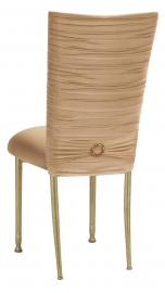 Chloe Beige Stretch Knit Chair Cover with Jewel Band and Cushion on Gold Legs
