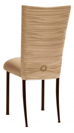 Chloe Beige Stretch Knit Chair Cover with Jewel Band and Cushion on Brown Legs
