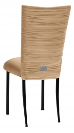 Chloe Beige Stretch Knit Chair Cover with Rhinestone Accent and Cushion on Black Legs