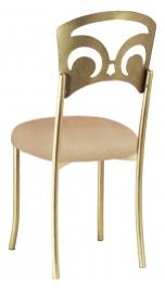 Gold Fleur de Lis with Beige Stretch Knit Cushion