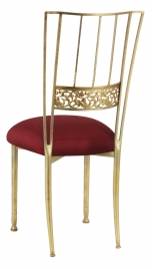 Gold Bella Fleur with Burnt Red Dupioni Boxed Cushion