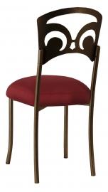Bronze Fleur de Lis with Burnt Red Dupioni Boxed Cushion