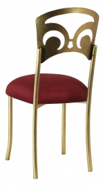 Gold Fleur de Lis with Burnt Red Dupioni Boxed Cushion