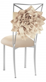 Champagne Bloom with Buttercream Knit Cushion on Silver Legs