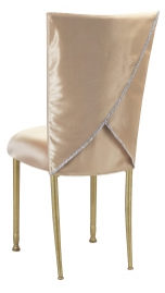 Champagne Deore Chair Cover with Buttercream Cushion on Gold Legs