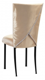 Champagne Deore Chair Cover with Buttercream Cushion on Brown Legs