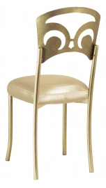 Gold Fleur de Lis with Champagne Nu Silk Boxed Cushion