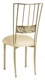Gold Bella Fleur with Champagne Metallic Knit Cushion