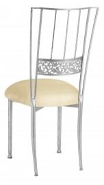Silver Bella Fleur with Champagne Metallic Knit Cushion