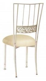 Ivory Bella Fleur with Champagne Metallic Knit Cushion