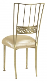 Gold Bella Fleur with Champagne Nu Silk Boxed Cushion