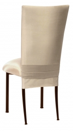 Champagne Dupioni Chair Cover with Champagne Bengaline Cushion on Brown Legs