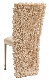 Champagne Ruffle Chair Cover with Champagne Bengaline Cushion on Gold Legs