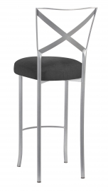 Silver Simply X Bar Stool with Charcoal Linette Boxed Cushion