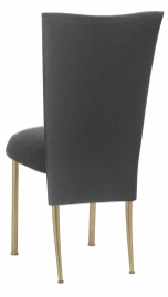 Charcoal Linette Chair Cover and Boxed Cushion on Gold Legs