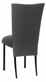 Charcoal Linette Chair Cover and Boxed Cushion on Black Legs
