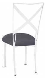 Simply X White with Charcoal Suede Cushion