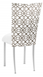 Smoke Kaleidoscope Chair Cover with White Suede Cushion on Silver Legs