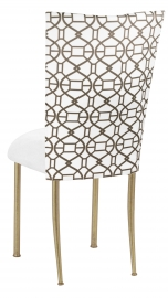 Smoke Kaleidoscope Chair Cover with White Suede Cushion on Gold Legs