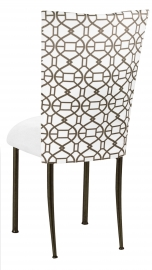 Smoke Kaleidoscope Chair Cover with White Suede Cushion on Brown Legs