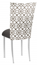 Smoke Kaleidoscope Chair Cover and Charcoal Suede Cushion on Silver Legs