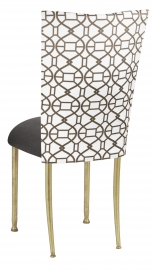 Smoke Kaleidoscope Chair Cover with Charcoal Suede Cushion on Gold Legs