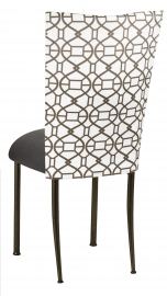 Smoke Kaleidoscope Chair Cover with Charcoal Suede Cushion on Brown Legs
