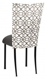 Smoke Kaleidoscope Chair Cover with Charcoal Suede Cushion on Black Legs