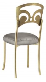 Gold Fleur de Lis with Charcoal Taffeta Boxed Cushion