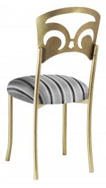 Gold Fleur de Lis with Charcoal Striped Cushion
