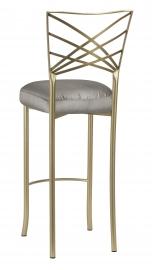 Gold Fanfare Bar Stool with Charcoal Taffeta Boxed Cushion