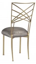 Gold Fanfare with Charcoal Taffeta Boxed Cushion