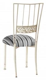 Ivory Bella Fleur with Charcoal Stripe Cushion